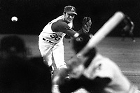 Oakland Athletics right hander Bob Locker delivers pitch ..(1970 photo/Ron Riesterer)