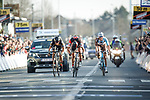 Greg Van Avermaet (BEL) BMC Racing Team outsprints  Philippe Gilbert (BEL) Quick-Step Floors and Oliver Naesen (BEL) AG2R La Mondiale to win the 60th edition of the Record Bank E3 Harelbeke 2017, Flanders, Belgium. 24th March 2017.<br /> Picture: Jim Fryer/BrakeThrough Media   Cyclefile<br /> <br /> <br /> All photos usage must carry mandatory copyright credit (&copy; Cyclefile   Yuzuru Sunada)