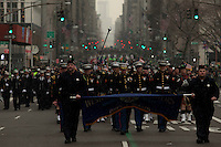 The FDNY pipes and drums band marches on Fifth Avenue during the 252nd annual St. Patrick's Day Parade in New York City. Photo by Eduardo Munoz Alvarez / VIEWpress.