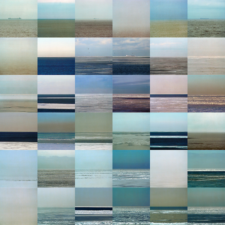 A four-panel series of images of the Lake Erie Horizon, taken year round and grouped by season.