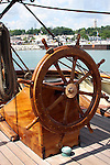 The steering wheel on the Pride of the Baltimore Ship at the Maritime Festiville in Port Washington Wisconsin