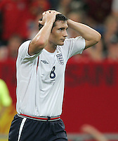 English midfielder (8) Frank Lampard reacts to a missed header.  Portugal defeated England on penalty kicks after playing to a 0-0 tie in regulation in their FIFA World Cup quarterfinal match at FIFA World Cup Stadium in Gelsenkirchen, Germany, July 1, 2006.