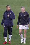 27 April 2008: Carli Lloyd (USA) (l) and Heather O'Reilly (USA) (9). The United States Women's National Team defeated the Australia Women's National Team 3-2 at WakeMed Stadium in Cary, NC in a rain delayed women's international friendly soccer match.