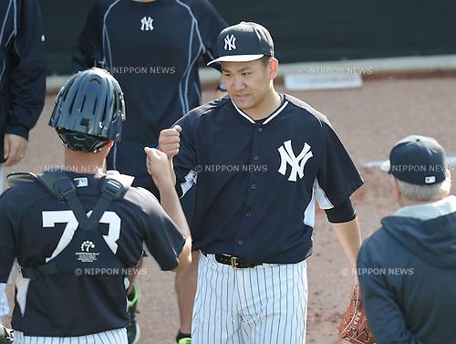 Masahiro Tanaka (Yankees), FEBRUARY 26, 2015 - MLB : Masahiro Tanaka (R) of the New York Yankees in action during the New York Yankees spring training camp in Tampa, Florida, United States. (Photo by AFLO)