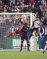 New England Revolution goalkeeper Matt Reis (1) makes a save. In a Major League Soccer (MLS) match, the New England Revolution tied the Colorado Rapids, 0-0, at Gillette Stadium on May 7, 2011.
