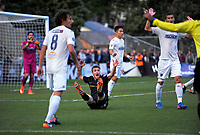 Ben Harris appeals for a foul during the Oceania Football Championship final (second leg) football match between Team Wellington and Auckland City FC at David Farrington Park in Wellington, New Zealand on Sunday, 7 May 2017. Photo: Dave Lintott / lintottphoto.co.nz