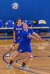 26 October 2014: Yeshiva University Maccabee Middle Blocker Marissa Almoslino, a Sophomore from Seattle, WA, in action against the College of Mount Saint Vincent Dolphins, in Riverdale, NY. The Dolphins defeated the Maccabees 3-0 in the NCAA Division III Women's Volleyball Skyline matchup. Mandatory Credit: Ed Wolfstein Photo *** RAW (NEF) Image File Available ***