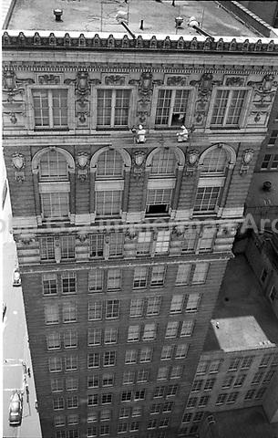 Window washers at work on Atlanta high-rise building, Atlanta, Georgia, 1952. Credit: John G. Zimmerman Archive