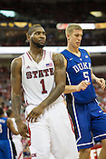 Battle of the big men; NC State's Richard Howell and Mason Plumlee during the second half of the Wolfpack's 84-76 victory over the top ranked Blue Devils. Plumlee finished with 11total  rebounds while Howell finished with 18.