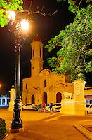 Catedral de la Purísima Concepción and Medici Lions in Marti Park in Cienfuegos, Cuba