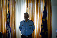 The head of the Hellenic Police Directorate and Frontex in Orestiada, Mr Georgios Salamagkas in his office at the central police station in Orestiada, Evros, Greece.<br /> Mr Salamagkas heads operations of border security in the northern Evros region.