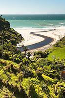 Sandhills Creek and farmland near Paturau on west coast of South Island, Nelson Region, New Zealand