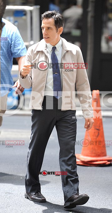 "Ben Stiller on the set of the film, ""The Secret Life of Walter Mitty"" in New York City. June 2, 2012. © mpi15/MediaPunch Inc."
