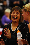 Assistant coach Waimarama Taumaunu laughs with Casey Williams after the win during the New World International Netball Series between the NZ Silver Ferns and England at Arena Manawatu, Palmerston North, New Zealand on Wednesday, 18 October 2008. Photo: Dave Lintott / lintottphoto.co.nz