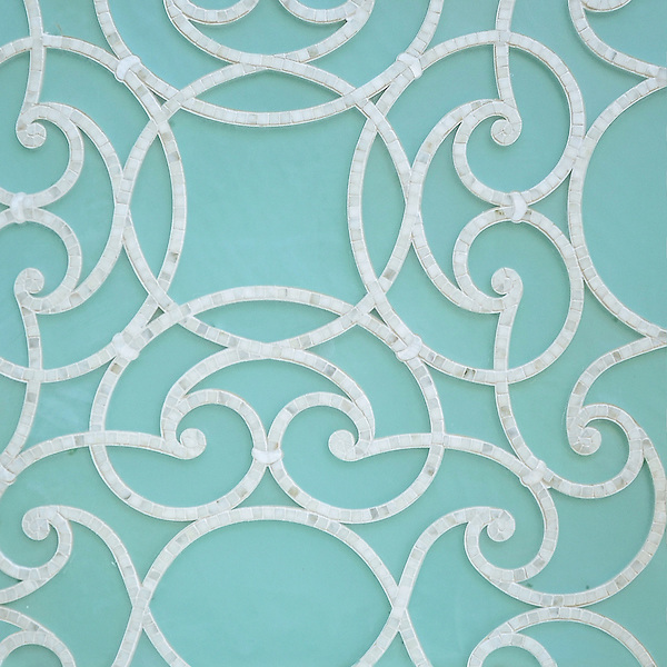 Abigail, a handmade mosaic shown in honed Aquaberyl glass and polished Calacatta. Designed by Sara Baldwin Designs for New Ravenna.<br /> <br />  https://www.pinterest.com/newravenna/a-b-i-g-a-i-l/<br /> <br /> For pricing samples and design help, click here: http://www.newravenna.com/showrooms/
