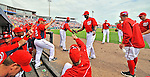 7 March 2012: Washington Nationals outfielder Roger Bernadina returns to the dugout with teammates during a game against the St. Louis Cardinals at Space Coast Stadium in Viera, Florida. The teams battled to a 3-3 tie in Grapefruit League Spring Training action. Mandatory Credit: Ed Wolfstein Photo