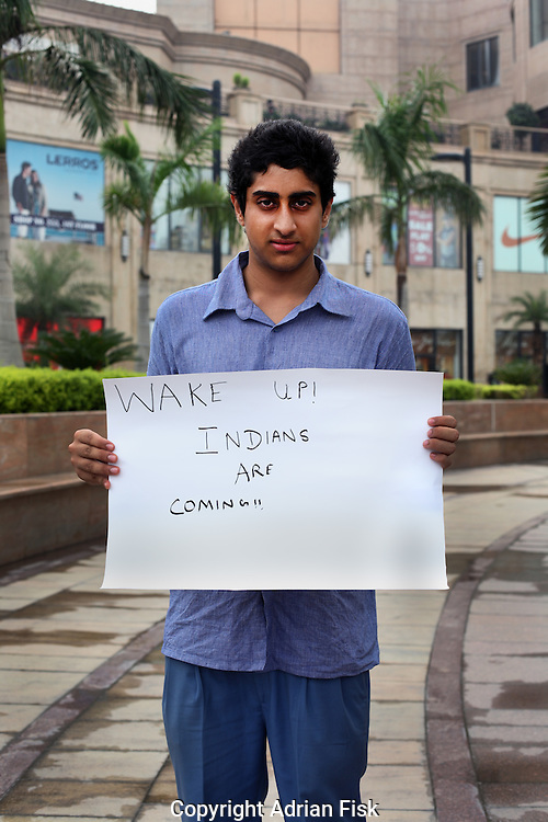 Saksham Bhatia - 16 yrs.Hindu.New Delhi.Senior School.'Wake up. Indians are coming'.