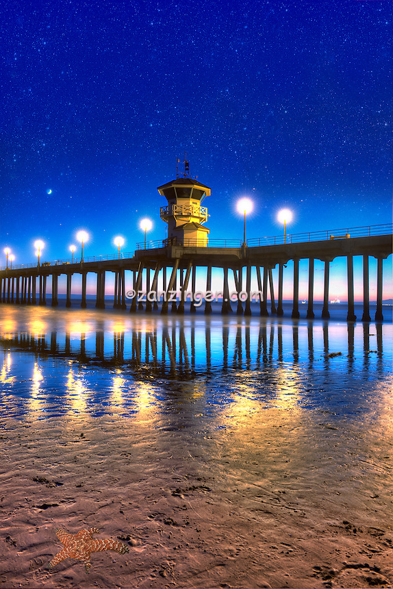 Seal Beach, Pier, CA,  Wooden Planks, Lifeguard Tower, Pacific Coast, end of Main Street, Icon,