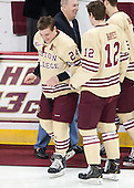 Bill Arnold (BC - 24), Kevin Hayes, Kevin Hayes (BC - 12), Isaac MacLeod (BC - 7) - The visiting University of Notre Dame Fighting Irish defeated the Boston College Eagles 2-1 in overtime on Saturday, March 1, 2014, at Kelley Rink in Conte Forum in Chestnut Hill, Massachusetts.