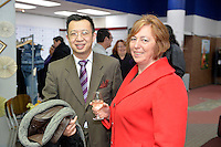from left, Jack Yan and Shirley Duffy, New Zealand Eco Fashion Exposed Opening Function at 151 High Street, Lower Hutt, New Zealand on Wednesday 23 July 2014. <br /> Photo by Masanori Udagawa. <br /> www.photowellington.photoshelter.com.