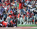 Ole Miss' Damien Jackson (1) celebrates as Arkansas running back Broderick Green (29) is stopped on 4th and one vs. Ole Miss at Vaught-Hemingway Stadium in Oxford, Miss. on Saturday, October 22, 2011. .