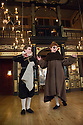 London, UK. 10.04.2014. Shakespeare's Globe presents THE MALCONTENT, in the Sam Wanamaker Playhouse, with the Globe Young Players, directed by Caitlin McLeod. Picture shows: Guy Amos (Mendoza) and Joseph Marshall (Malevole). Photograph © Jane Hobson.
