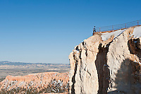 tourist on viewing platform at Upper Inspiration point, Bryce Canyon national park, Utah, USA