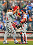 11 April 2012: Washington Nationals outfielder Jayson Werth gets a high-five from catcher Jesus Flores after a game against the New York Mets at Citi Field in Flushing, New York. The Nationals shut out the Mets 4-0 to take the rubber match of their 3-game series. Mandatory Credit: Ed Wolfstein Photo