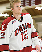 Colin Moore (Harvard - 12) - The Harvard University Crimson defeated the visiting Clarkson University Golden Knights 3-2 on Harvard's senior night on Saturday, February 25, 2012, at Bright Hockey Center in Cambridge, Massachusetts.