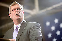 Secretary of Agriculture, and former Iowa governor, Tom Vilsack speaks ahead of Vice President Joe Biden at a campaign rally at the Port of Burlington during a two-day campaign swing through Iowa on Monday, September 17, 2012 in Burlington, IA.