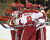 Brian Hart (Harvard - 39), Patrick McNally (Harvard - 8), Brendan Rempel (Harvard - 12) - The Harvard University Crimson defeated the visiting Brown University Bears 3-2 on Friday, November 2, 2012, at the Bright Hockey Center in Boston, Massachusetts.