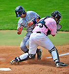 18 July 2010: Staten Island Yankees outfielder Shane Brown is out at the plate during a game against the Vermont Lake Monsters at Centennial Field in Burlington, Vermont. The Lake Monsters fell to the Yankees 9-5 in NY Penn League action. Mandatory Credit: Ed Wolfstein Photo