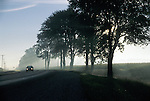 Misty Morning on Southwestern Ontario Highway with Car Headlights