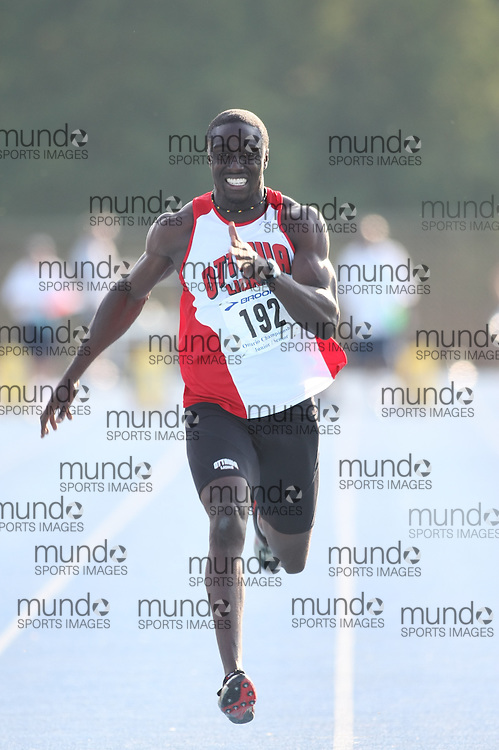 "(Ottawa, Ontario---20080621) ""Adu-Bobie, Richard ofON - Ottawa Lions T&F Club"" competing in the senior men's 100m final at Supermeet I, the 2008 Ontario Track and Field Association (OTFA) Junior/Senior Track and Field Championships. This image is copyright Sean W. Burges, and the photographer can be contacted at seanburges@yahoo.com."