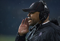 SEATTLE, WA - September 28, 2013: Stanford head coach David Shaw yells at players on the sideline during play against Washington State at CenturyLink Field. Stanford won 55-17