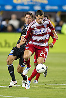 SANTA CLARA, CA - FC July 18, 2012: Dallas defender Matt Hedges (24) during the San Jose Earthquakes vs  FC Dallas match at the Buck Shaw Stadium in Santa Clara, California. Final score San Jose Earthquakes 2, FC Dallas 1.