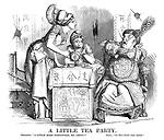 """A Little Tea Party. Britannia. """"A little more gunpowder, Mr China?"""" China. """"O-no-tan-ke-mum."""""""