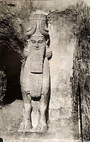 EXCLUSIVE (b/w photo) Winged human-headed bull, right side of the door, Palace of King Sargon II, Khorsabad, Iraq, Middle East. Picture by Victor Place in 1852...Additional Info :..Khorsabad - Porte Ornée n° 3 - Enceinte SE de la ville - Le Taureau de Droite (Est) (N.A. pl. II et 9 à 17). Cliché V. Place N° 12 (1852).