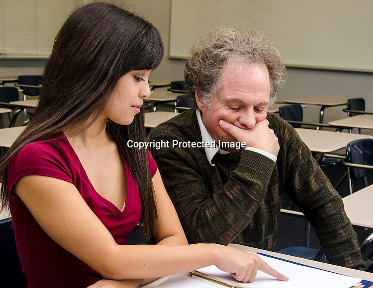 Student and teacher stock photo