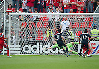 Philadelphia Union midfielder/defender Gabriel Farfan #15 scores the first goal during an MLS game between the Philadelphia Union and the Toronto FC at BMO Field in Toronto on May 28, 2011..