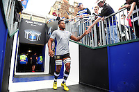 Levi Douglas of Bath Rugby runs out onto the field for the pre-match warm-up. Aviva Premiership match, between Bath Rugby and Worcester Warriors on September 17, 2016 at the Recreation Ground in Bath, England. Photo by: Patrick Khachfe / Onside Images