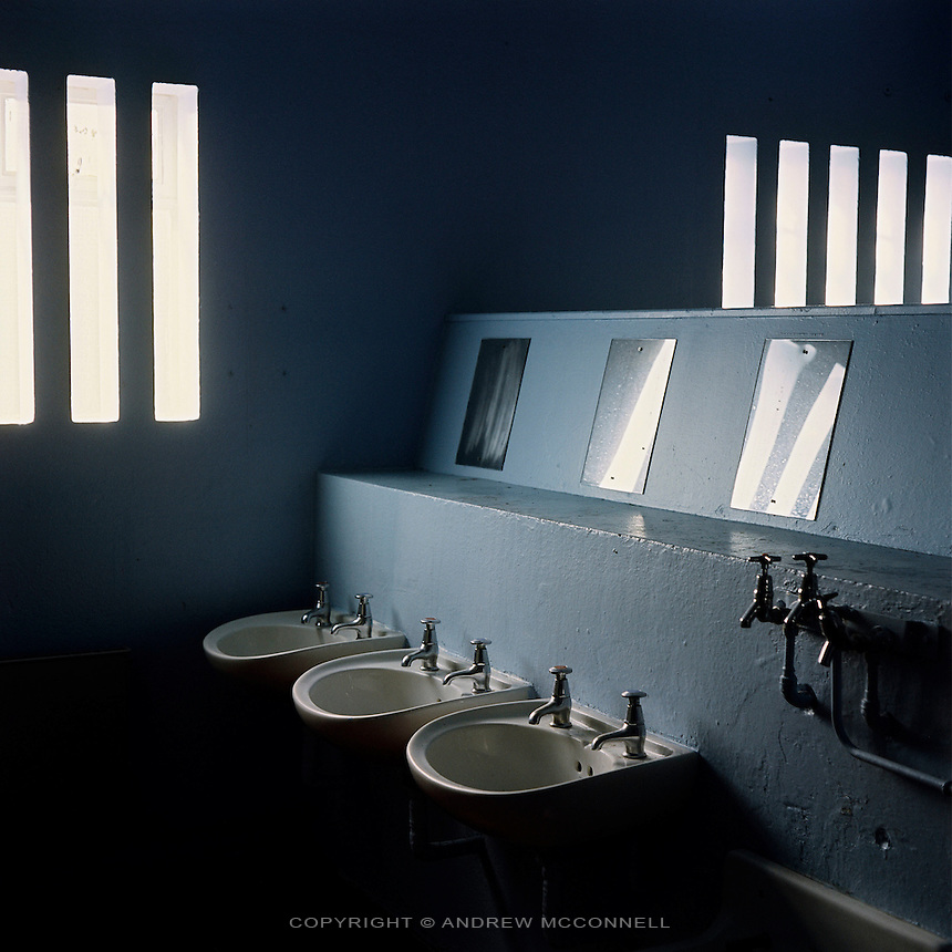 A bathroom inside the Maze Prison, near Lisburn, Northern Ireland, on Tuesday, April. 11, 2006. HM Maze Prison, also known as Long Kesh and the H-Blocks, held some of the most dangerous men in Europe during its 30 year operation. The prison closed in September 2000 after 428 prisoners had been released under the Good Friday Agreement. There are now plans to turn the abandoned site into a national football stadium.