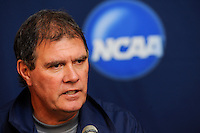 North Carolina Tar Heals head coach Elmar Bolowich addresses the media during a press conference prior to the semi-finals of the 2009 NCAA Men's College Cup at WakeMed Soccer Park in Cary, NC, on December 10, 2009.