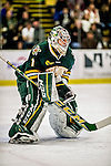17 October 2015:  University of Vermont Catamount Goaltender Mike Santaguida, a Junior from Mississauga, Ontario, in first period action against the University of Nebraska Omaha Mavericks at Gutterson Fieldhouse in Burlington, Vermont. The Catamounts fell to the Mavericks 3-1. Mandatory Credit: Ed Wolfstein Photo *** RAW (NEF) Image File Available ***