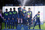Movistar Team win the team classification on the podium at the end of Stage 7 of the 2017 Tirreno Adriatico a 10km Individual Time Trial at San Benedetto del Tronto, Italy. 14th March 2017.<br /> Picture: La Presse/Gian Mattia D'Alberto | Cyclefile<br /> <br /> <br /> All photos usage must carry mandatory copyright credit (&copy; Cyclefile | La Presse)