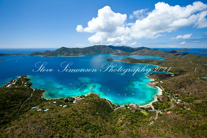 St. John east end looking west showing Round Bay, Hansen Bay, Pelican Rocks, Turner Point.St. John.U.S. Virgin Islands