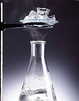 THREE STATES OR PHASES OF WATER<br /> Solid Ice, Gaseous Vapor &amp; Liquid<br /> Water in a flask is heated to boiling releasing H2O in gaseous form. Water in solid form as ice  melts &amp; returns to its liquid state.
