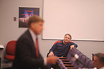 "Ole Miss football coach Houston Nutt listens as athletic director Pete Boone speaks about the football program during a press conference in Oxford, Miss. on Monday, Sept. 19, 2011. Ole Miss has started the season 1-2, including a 30-7 loss to Vanderbilt on Saturday, Sept. 17, 2011 that Boone termed ""unacceptable."""