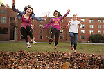 11/08/2011- Medford/Somerville, Mass. - Undergraduate students play in a leaf pile on an unseasonably warm fall day on the Residential Quad on Nov. 8, 2011. (Kelvin Ma/Tufts University)