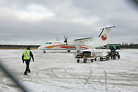 An Air Creebec flight arrives in Attawapiskat in Ontario's far north. The fly-in Cree community of 1500 people on James Bay is notorious for it's poor living conditions.<br /> <br /> <br /> (Ian Stewart photo)